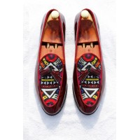 Aztec print tassel loafer shoes with oxblood patent leather